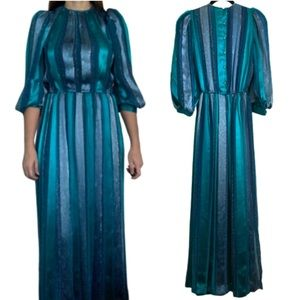 1980s vintage silk blue and metallic striped gown